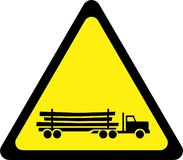 Warning sign with Logging truck vector illustration