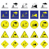 Warning sign of man cycling on the various climatic conditions Stock Photo