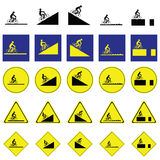 Warning sign of man cycling on the various ways Royalty Free Stock Photos