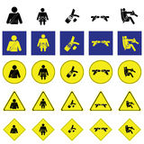 Warning sign of man fasting the seat belt Stock Image