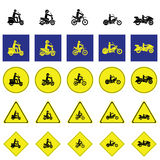 Warning sign of man riding various type of motorbikes Royalty Free Stock Images