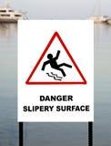 Warning sign at a marina Stock Photography