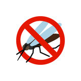 Warning sign with mosquito icon Stock Photos