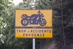 Warning sign for motorcycles Stock Image