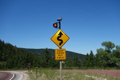 A warning sign for motorists in wyoming. Stock Photos