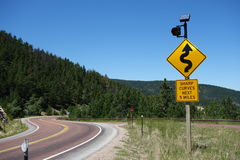 A warning sign for motorists in wyoming. Royalty Free Stock Photos