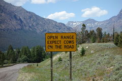 A warning sign for motorists in wyoming. Royalty Free Stock Photography