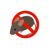 Warning sign with mouse icon, isometric 3d style Royalty Free Stock Images
