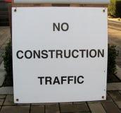 Warning Sign: No Construction Traffic. No Construction Traffic warning sign on a street Royalty Free Stock Image