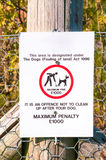 Warning sign No dog fouling close up Royalty Free Stock Photography