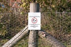 Warning sign No dog fouling stock photo