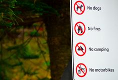 Warning Sign for No dogs, No fires, No Camping, No motorbikes allowed in the park. stock images