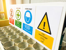Warning Sign, No entrance, Safety first, Safety helmets, General danger Royalty Free Stock Image