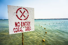 Warning sign no entry - coral area in egypt Royalty Free Stock Images