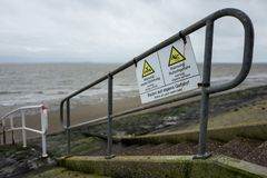 Warning sign at the north coast in Wilhelmshaven Royalty Free Stock Image