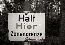 Warning Sign On The Former Inner German Border Stock Photo