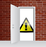 Warning sign and open door illustration design Stock Image