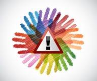 Warning sign over diversity hands circle Royalty Free Stock Image