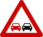 Warning sign with overtaking stock illustration