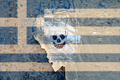 Warning sign and painted flag Royalty Free Stock Image