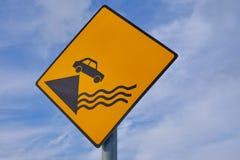 Warning sign, pier stock photo
