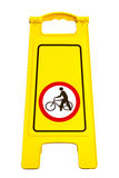 Warning sign. Please be guided bike.Isolate on white royalty free stock images