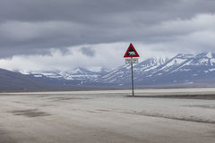 Warning sign polar bears, Spitsbergen, Svalbard, Norway Stock Photography