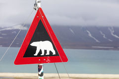 Warning sign for polar bears at Svalbard Stock Photo