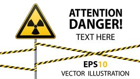 Warning sign on a pole and warning bands. Sign of radiation hazards. Vector illustrations Stock Photography
