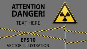 Warning sign on a pole and warning bands. Sign of radiation hazards. Vector illustrations Royalty Free Stock Photo