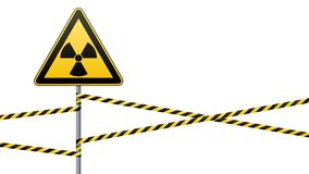 Warning sign on a pole and warning bands. Sign of radiation hazards. Vector illustrations Stock Photos