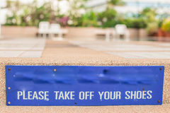 Warning sign in the pool. Royalty Free Stock Photo