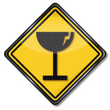 Warning sign of possible glass breakage. And sensitive goods stock illustration