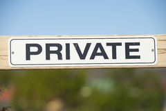 Warning sign at private property gate outdoor Royalty Free Stock Images
