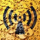 Warning sign radiation, black, yellow skulls. 3d design Royalty Free Stock Photos