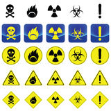 Warning sign for radio active, bio hazard, flame Stock Images