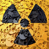 Warning sign radioactive, black, yellow skulls. Black warning sing, symbol over cluster, pool of yellow skulls, 3d rendering Stock Photo