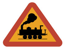 Warning sign for railway crossing Royalty Free Stock Photo