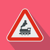 Warning sign railway crossing without barrier icon Royalty Free Stock Photos