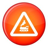 Warning sign railway crossing without barrier icon Royalty Free Stock Photo