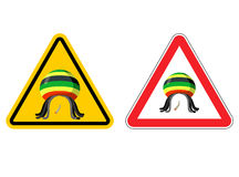 Warning sign Rastaman. Attention Stoned drug man. Dangers yellow vector illustration