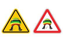Warning sign Rastaman. Attention Stoned drug man. Dangers yellow Royalty Free Stock Images