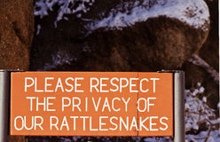 Warning sign for rattlesnakes Stock Photos