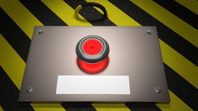 Warning sign with red button royalty free illustration