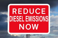 Warning sign REDUCE DIESEL EMISSIONS NOW Royalty Free Stock Photos