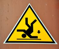 Warning sign: risk of falling  Royalty Free Stock Images