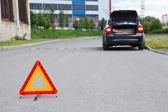 Warning sign on road Royalty Free Stock Image