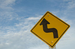 Warning Sign. A road sign with the Arrow Stock Photo