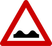Warning sign with road bumps. Symbol Stock Photography