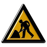 Warning sign - road work Royalty Free Stock Photo